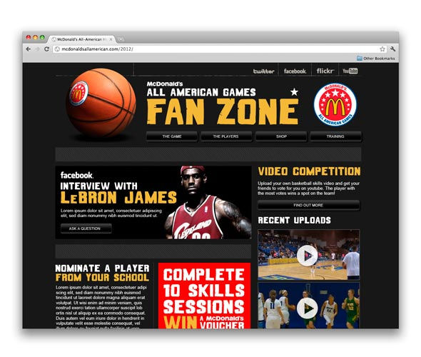All American Games Fan Zone website